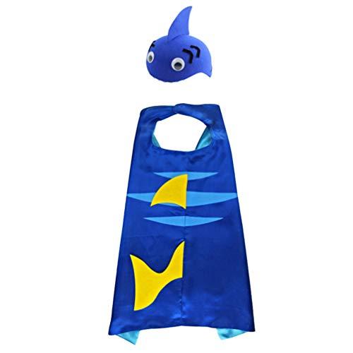 SOIMISS Conjunto de Capa Y Sombrero de Tiburón para Niños Disfraz de Animal de Tiburón de Halloween Trajes de Fiesta con Capa de Tiburón Sombreros para Niños
