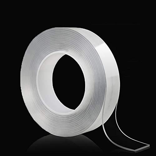 YIXISI Cinta Adhesiva Lavable (9.8ft/3M), Nano Cinta Adhesiva de Doble Cara Lavable Multifuncional, Fuerte Para Pegar Artículos, para Pared,Cocina, Alfombra,Llaves,Fijación de Fotos