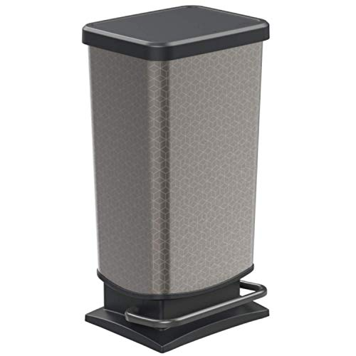 Rotho Paso Mülleimer 40l mit Deckel, Kunststoff (PP) BPA-frei, silber hexagon, 40l (35,3 x 29,5 x 67,6 cm)