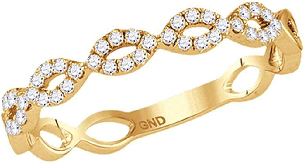 Saris and Things 10kt Yellow Gold Round Diamond Womens Stackable Max 73% Max 67% OFF OFF