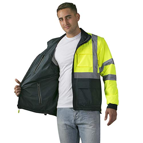 JORESTECH Safety 4 in 1 Windbreaker Reversible Gray Jacket Reflective High Visibility Yellow/Lime with Removable Sleeves ANSI Type R Class 3 JK-04 (Extra Large)