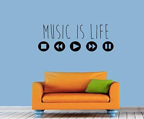 wandaufkleber sterne leuchtend Music is Life Wall Decal Quote Dj Decal Equalizer Music MacBook Studio Decor Vinyl Graphic