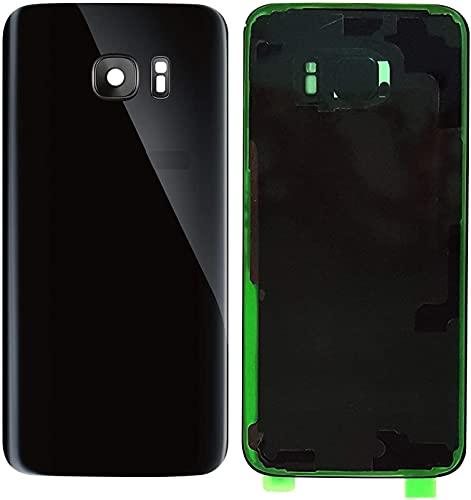 KIT 3 Pezzi Copri Batteria + biadesivo + lente compatibile per Samsung Galaxy S7 Edge G935F G935 Ricambio Vetro Posteriore Back Cover Retro Scocca adesivo + lente con cornice (Nero)