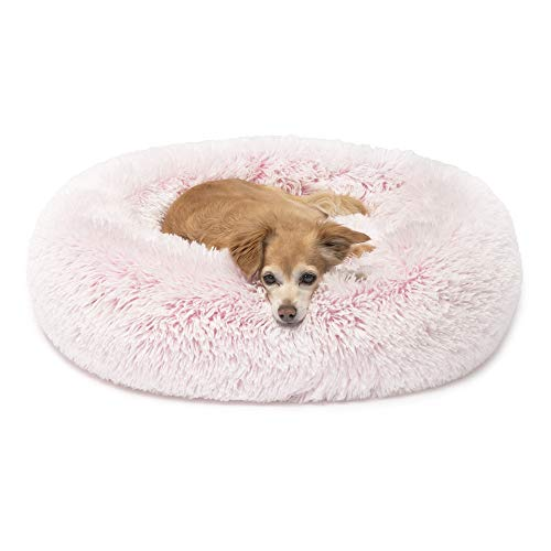 Friends Forever Luxury Calming Bed for Dogs, Blush Pink Small Dog Beds for Pet Comfy, 23 X 23 Inch
