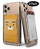 Ringke Slot Card Holder (2 Pack) Designed for Smartphones, Adhesive Stick On Wallet Case Minimalist Slim Hard Premium Credit Card Cash Sleeve - Clear Mist