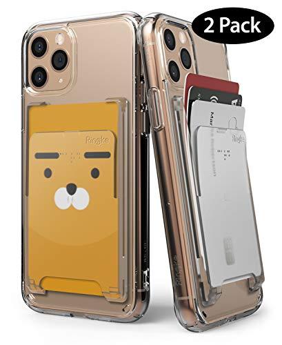 Ringke Slot Card Holder [Clear Mist] 2-Pack Handy Kartenhalter Kartenetui Kartenfach Kreditkartenetui für iPhone SE 2020, Galaxy S20, A51, Redmi Note 9 Pro, P40 Lite, OnePlus 8