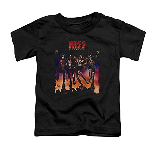 Kiss - Kleinkind Destroyer Abdeckung T-Shirt, 4T, Black