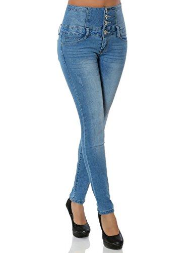 Daleus Damen High-Waist Jeanshose Skinny Stretch DA 15863 Farbe Blau Größe S / 36
