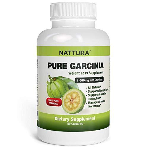 Nattura Pure Garcinia - All Natural, 100% Pure Garcinia Cambogia Formula, 1000mg Garcinia Extract Per Serving - 60 Capsules