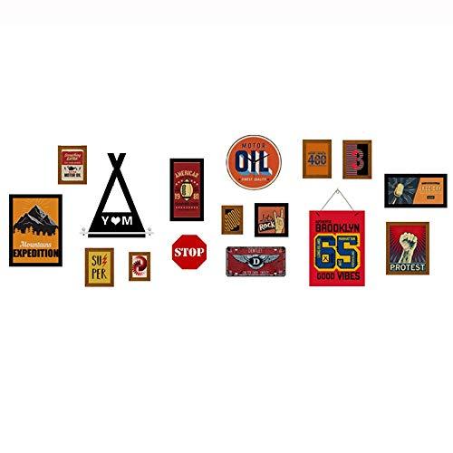 11-pack fotocollage, 2 stuks 4,4 x 5,9 inch, 4 stuks 5,9 x 7,9 inch, 1 stuk 8,9 x 10,8 inch, 1 stuk 10,8 x 14,7 inch, 1 stuk 6,9 x 6,9 inch, 2 stuks 6,9 x 12,8 inch, zwarte kunststof wand Fo