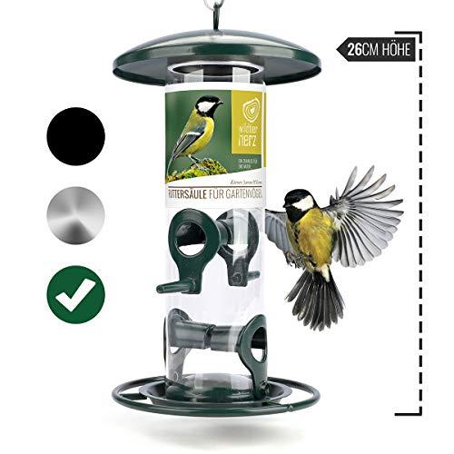 wildtier herz | Körner-Futterspender 26cm - für Vögel mit Edelstahl Anflugsringen, Futtersäule für Vogelfutter, Futterstation für die ganzjährige Fütterung von Wildvögel (Grün)
