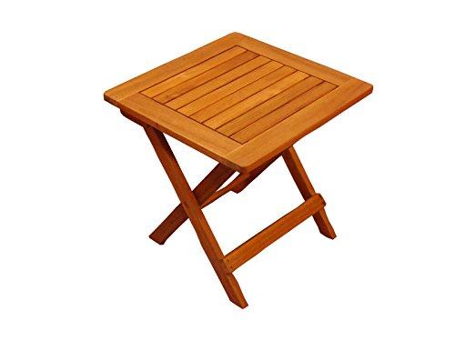 Beistelltisch Kaffee, Garten-Möbel aus Akazie-Holz massiv, Kleiner Garten-Tisch 46x46 cm, für Balkon Terrasse Garten, Hartholz Klapptisch in braun
