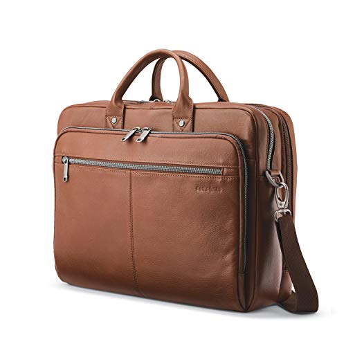 Samsonite Classic Leather Toploader Briefcase, Cognac, One Size
