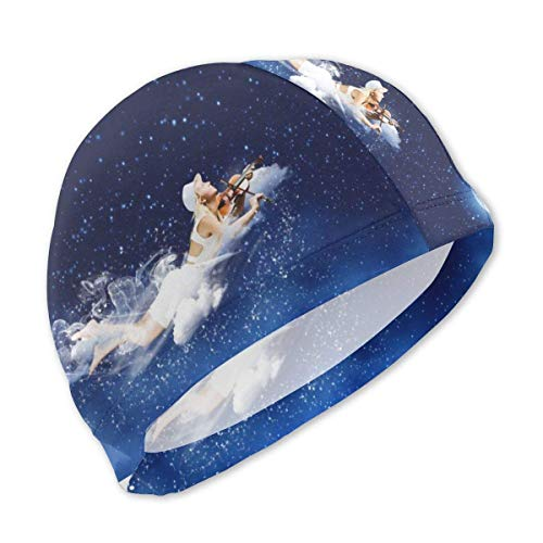 HFHY Blonde Mädchen fliegen und Spielen Geige in der Nachthimmel-Badekappe für Kinder, personalisierte Polyester-Badekappe