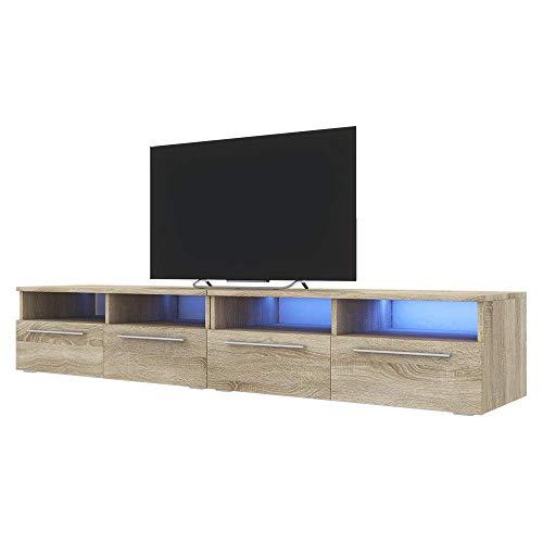 Siena Double - Meuble TV/Banc TV (200 cm, Effet chêne avec LED)