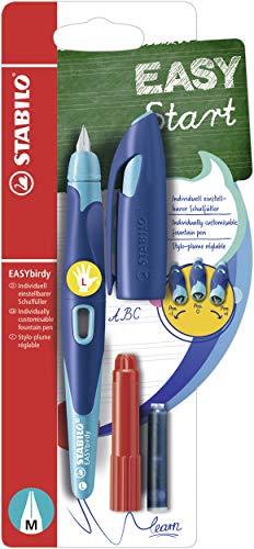Stylo plume - STABILO EASYbirdy - Stylo ergonomique rechargeable - Bleu/turquoise - Gaucher - Avec clé de réglage