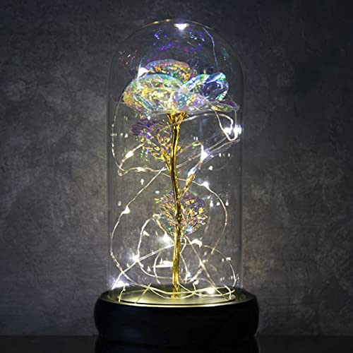 Galaxy Rose LOVAPPY in Glass Dome - Led Light String on The Colorful Flower - Enchanted Rose Forever - Infinity Rose Flower Gift for Wedding, Anniversary and Birthday Girl's (Colorful Rose)