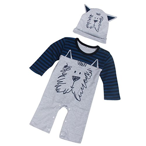kingko® Newborn Infant Bébés garçons filles Imprimer Romper Jumpsuit + Chapeau Tenues Vêtements (24M)