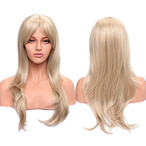 Destaque loiro de 66 cm, peruca feminina de cabeça inteira, peruca longa, natural, 38 cm, gengibre avermelhado, franja reta para festa diária