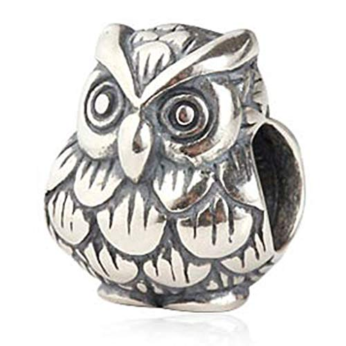 Owl Charm 925 Sterling Silver Animal Charm Bird Charm Wisdom Charm for Bracelet (A)