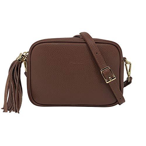 Parubi, Bolso de mujer de piel auténtica granulada dólar, fabricado en Italia, modelo Anastasia, bolso pequeño con flecos, bolso bandolera, para mujer y niña, elegante, marrón (Marrón) - PRB2982