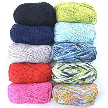 JubileeYarn Thick Thin Bamboo Wool Yarn - 4 Skein Assorted Color Variety Package
