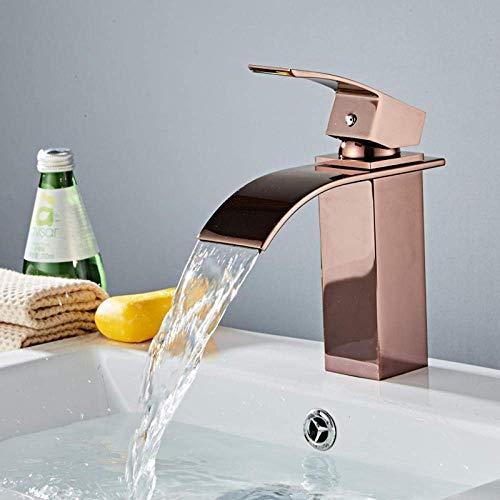 SHBV Gran Oferta Cascada Grifo de baño montado en la Cubierta Lavabo de latón Grifo Mezclador Caliente y frío el Grifo del Lavabo el Grifo de Oro Rosa