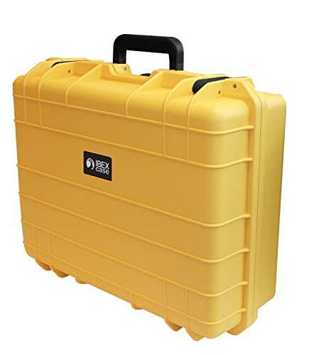 Ibex Cases 1600 (Yellow) Hard Protective Case with Foam - Watertight Camera Case for Electronics, Equipment, Tools
