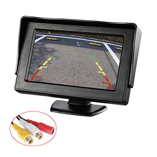 E-KYLIN 4.3' Car Auto Monitor LCD Screen Dash Mounting Stand, 12-24V Wide Input Universal for Truck Auto 2 RCA Video Input for Backup Camera/Rear View/DVD/Media Player