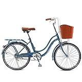 MC.PIG Bicicleta Femenina Urbana Adulto- 22 Pulgadas Damas Bicicleta Masculina Estudiante Viajero Bicicleta Aluminio Bicicleta de Ciudad, Estilo holandés Bicicleta Retro con Cesta (Color : Blue)