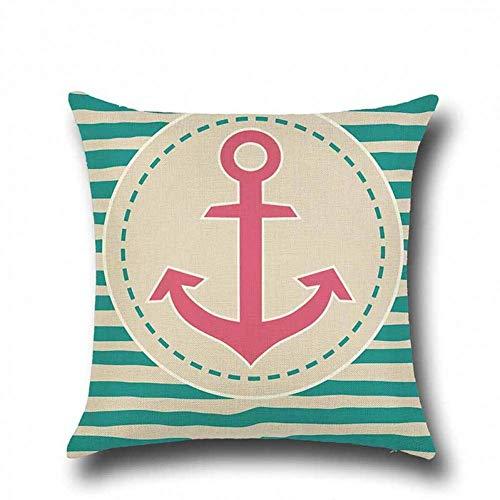 ZLXIONG - Funda de almohada decorativa para sofá, diseño de tortuga marina, algodón, lino