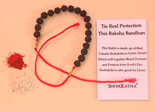 SHIVARATNA Rudraksha and Nylon Thread Rakhi with Roli and Chawal Tilak