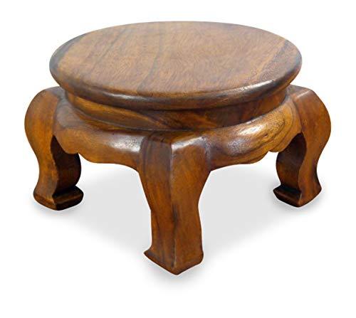 livasia Runder Opiumtisch, Beistelltisch aus Massivholz, Couchtisch, Nachttisch