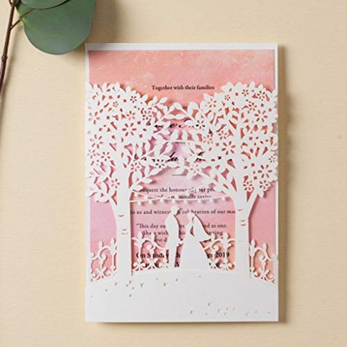 Jofanza Wedding Invitations Cards with White Laser Cut Bride and Groom Tree Printable Pink Inner Card for Marriage Birthday Party Bridal Shower (50 Pieces)