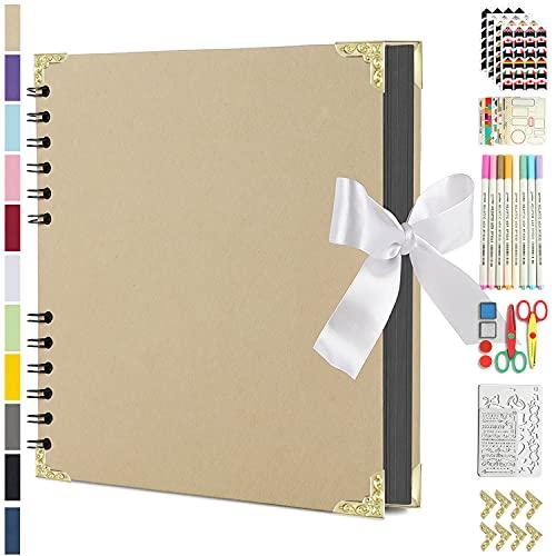 Scrapbook Photo Album DIY Kit, Baby Scrapbook Album,Wedding Guest Book,Anniversary Scrapbook, School Memory Book, Keepsake Handmade,with Many Accessories, Black Paper 80 Pages (11.6x8.3 inchs, Black)