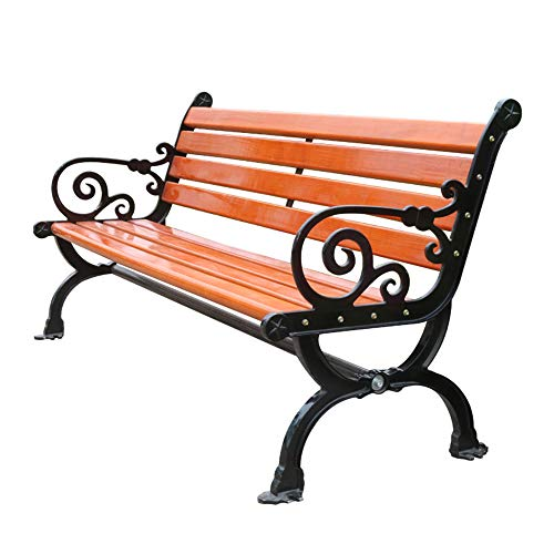 Banco de jardín Banco de salón terraza al aire libre, Silla de hierro fundido de 3 plazas con reposabrazos, Banco de listones de respaldo de madera maciza anticorrosiva resistente a la intemperie