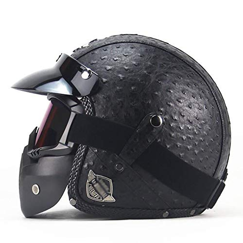 GAOZH Motorrad-Helm - Mopedhelm Retro Klassisch Leder Halbhelme Jet-Helm - Mit Sonne Visier Vintage Scooter-Helm Mofa-Helm - Oldtimer Cruiser Biker Harley Helmet - ECE Zertifiziert