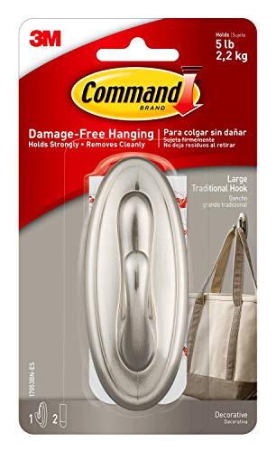 Command Large Traditional Plastic Hook, Brushed Nickel, 1-Hook, 2-Strips, Organize Damage-Free