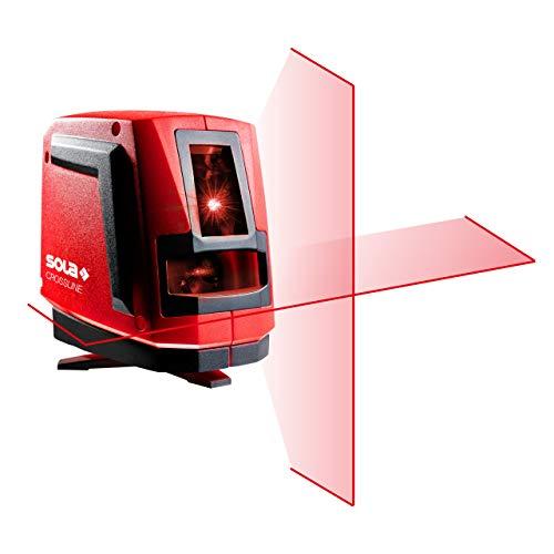 SOLA CROSSLINE - Kreuzlinienlaser 20 m - Linienlaser rot - Baulaser mit integriertem Drehfuß und flexibler Magnethalterung - IP54