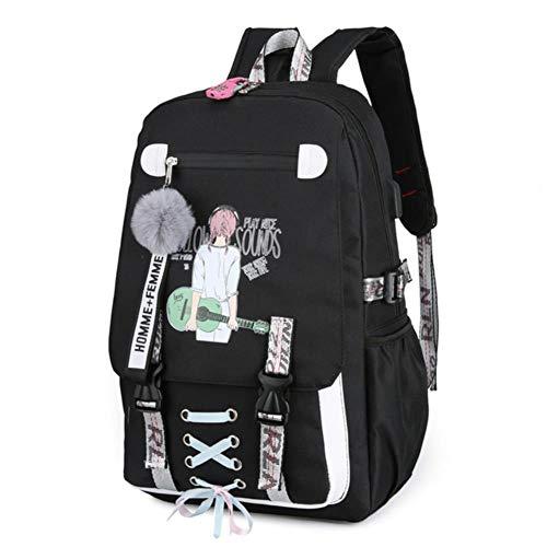 UKKD Backpack Large School Bags For Teenage Girlswith Lock Durable Breathable Printing Cute School Backpack Girls Zipper Schoolbag,Black