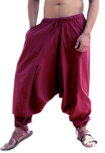Sarjana Handicrafts Men's Cotton Harem Yoga Baggy Genie Boho Pants (Free Size, Maroon)