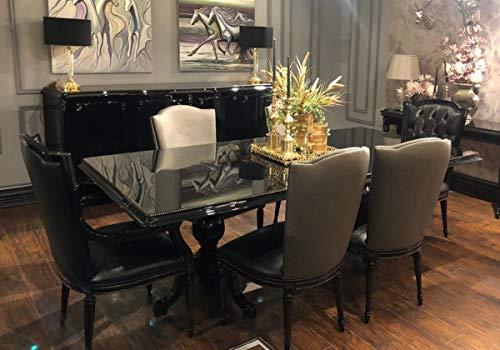 Casa Padrino Conjunto de Comedor Barroco de Lujo Negro/Oro - 1 Mesa de Comedor con Tapa de Vidrio y 6 sillas de Comedor - Muebles de Comedor Nobles en Estilo Barroco