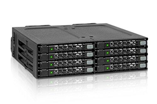 ICY DOCK Wechselrahmen für 8X 2,5 Zoll (6,4cm) SATA SSD/HDD in 1x 5,25 Zoll (13,3cm) - Vollmetall ToughArmor MB998SP-B
