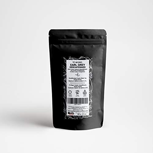 Té Negro Earl Grey Descafeinado. Sabor clásico a bergamota. Té de Ceylán. Contenido máximo de cafeína: 0,4%. (100 gr)