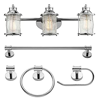Globe Electric 51550 Bayfield 5-Piece All-in-One Bathroom Set, 3 Vanity Light with Ribbed Shades, Bar, Towel Ring, Robe Hook, Toilet Paper Holder, Chrome with Seeded Glass