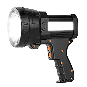 Super Bright Spotlight 6000 High Lumens Rechargeable Spot Lights Handheld Flashlight Boat Light with 9600mAh Battery Tripod and USB Output IPX4 Waterproof