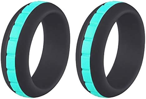 Silicone Wedding Ring for Men Women 2 Packs 8mm Stepped Stripe Fashion Rubber Bands product image