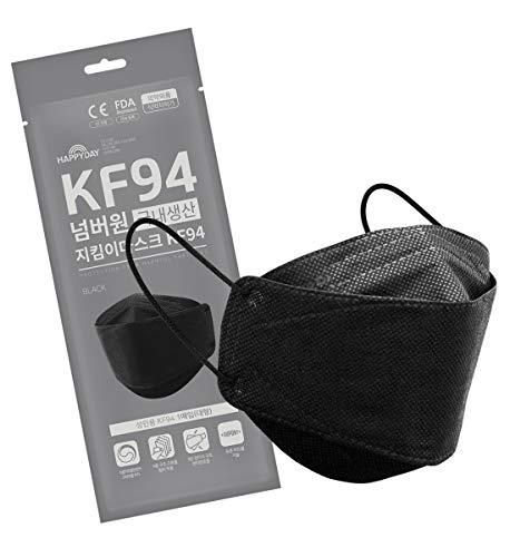 HAPPYDAY KF94マスク 10枚入り 黒 ブラック 4層構造 高機能性 不織布マスク 衛生マスク 大型 白 立体構造 使い捨て 柳葉型マスク 韓国製