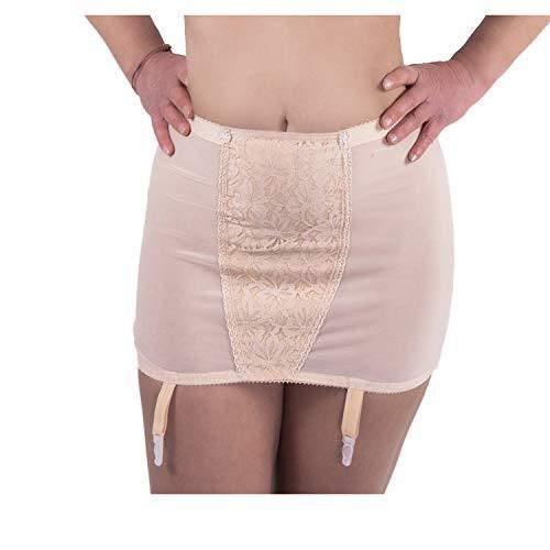 BODYPERFECT Guaina Contenitiva Donna Panciera Snellente Donna in Cotone e Reggicalze (6°, Nudo)