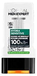 L'Oréal Paris Men Expert Duschgel für Männer, Für sensible Haut, Zur Reinigung von Körper, Haar und Gesicht, Hydra Sensitive, 6 x 300 ml